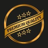 Premium quality label. On black background. Vector illustration Stock Photography