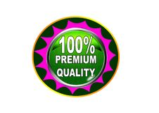 100 Premium quality label button white background. 100 Premium quality label creative web icon button of vector illustration on isolated white background Stock Photo