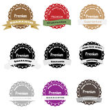 Premium Quality Label Collection Money back with ribbons Stock Images