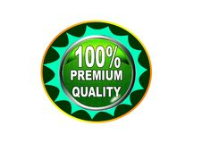 100 Premium quality label button white background. 100 Premium quality label creative web icon button of vector illustration on isolated white background Royalty Free Stock Image