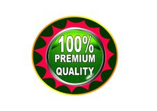 100 Premium quality label button white background. 100 Premium quality label creative web icon button of vector illustration on isolated white background Royalty Free Stock Photo