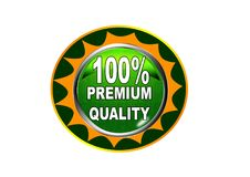 100 Premium quality label button white background. 100 Premium quality label creative web icon button of vector illustration on isolated white background Royalty Free Stock Images