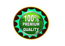 100 Premium quality label button white background. 100 Premium quality label creative web icon button of vector illustration on isolated white background Royalty Free Stock Photography