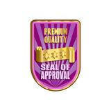 Premium Quality Label. Premium quality gold and colorful shield illustration Stock Images