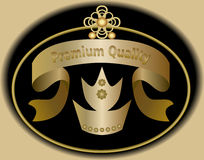 Premium quality label in golden design with royal crown symbol. Sticker in vintage style. Royalty Free Stock Images