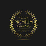 Premium quality label. Golden laurel wreath label, royal luxury business award Stock Image