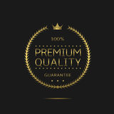 Premium quality label. Golden laurel wreath label, royal luxury business award Royalty Free Stock Image