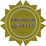 Premium quality label. Premium quality green label on a white background with stars Stock Image