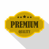Premium quality label icon, flat style. Premium quality label icon. Flat illustration of premium quality label vector icon for web isolated on white background Royalty Free Stock Photo