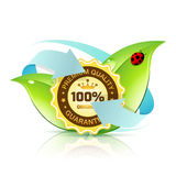 Premium Quality Label with Leaves Stock Image