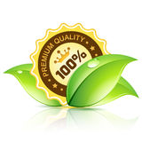 Premium Quality Label with Leaves Royalty Free Stock Images