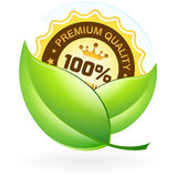Premium Quality Label with Leaves Stock Photography
