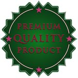 Premium quality label. Premium quality green label on a white background with stars Royalty Free Stock Photography