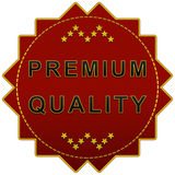 Premium quality label. Premium quality red label on a white background with stars Stock Images