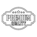 Premium quality label with stars icon. Outline illustration of premium quality label with stars vector icon for web Royalty Free Stock Images