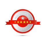 Premium Quality Label, Tag. Premium Quality Red and Silver Label, Tag Stock Images