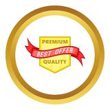 Premium quality label vector icon. In golden circle, cartoon style isolated on white background Stock Photo