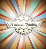 Premium quality label on vintage background. Premium quality label on vintage sunburst background Royalty Free Stock Photography