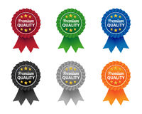 Premium quality labels. Collection of premium quality labels in various colors Stock Images