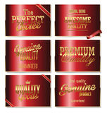 Premium quality labels. Premium quality red and gold  label Royalty Free Stock Images