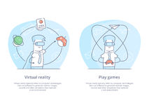 Premium Quality Line Icon And Concept Set: man wearing virtual reality goggles and experiencing virtual reality stock illustration
