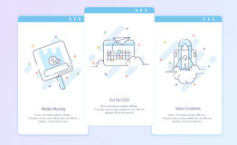 Premium Quality Line Icon And Concept Set: Process, Start up. Travel, Rocket, Make Money Royalty Free Stock Photography