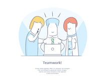 Premium Quality Line Icon And Concept Set: Young group of people working together with laptops Royalty Free Stock Images