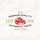 Premium Quality Meat Steak abstract Vector Retro Typography Label, Emblem or Logo Template. On Textured Background Stock Photo