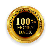 Premium Quality 100 Money Back Golden Medal Icon Seal Sign Iso. Lated on White Background. Vector Illustration EPS10 Royalty Free Stock Photos