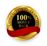 Premium Quality 100 Money Back Golden Medal Icon Seal Sign Iso. Lated on White Background. Vector Illustration EPS10 Royalty Free Stock Image