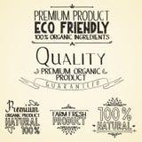 Premium quality organic health food headings Stock Image