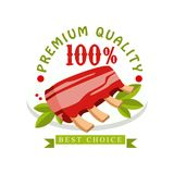 Premium quality, 100 percent, best choice logo template design, badge for meat store, butcher shop, farmer market. Restaurant, cafe, packaging colorful vector royalty free illustration