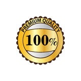 Premium quality 100 percent golden label icon. Premium quality 100 percent guaranteed golden label icon in flat style on a white background Vector Illustration