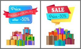 Premium Quality Price Offer Special Exclusive Sale. Posters piles of gift boxes wrapped in decorative color paper, vector illustration banners half cost Stock Image