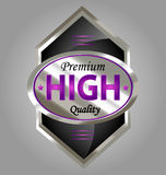 Premium quality product label. Creative  design of a creative glossy and gold premium quality product label Stock Image