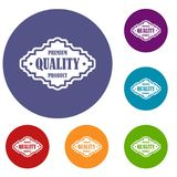 Premium quality product label icons set Stock Images