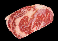 Premium quality ribeye steak. Premium quality kobe beef ribeye steak isolated on black background stock photography