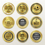 Premium quality round gold labels collection Royalty Free Stock Photos