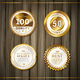 Premium quality round gold labels collection Stock Photography