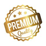 Premium Quality rubber stamp gold on a white background. Vector graphics stock illustration