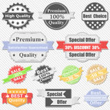 Premium Quality and Sale Labels Stock Photos