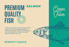Premium Quality Salmon. Abstract Vector Fish Packaging Design or Label. Modern Typography and Hand Drawn Salmon. Silhouette Background Layout Stock Photography