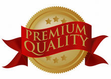 Premium Quality Seal. Red and Golden Premium Quality Seal Isolated on White / Vector Royalty Free Illustration