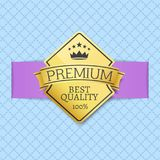 Premium Quality Seal Certificate of Best Product. With golden label decorated by crown and stars vector illustration  on blue with rhombus Stock Images