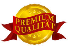 Premium Quality Seal - German Version. Red and Golden Premium Quality Seal Isolated on White - German Version - vector Stock Photo