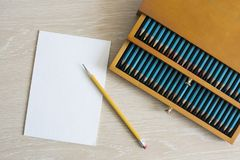 Premium quality set of watercolor pencils in the wooden box with