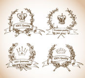 Premium quality sketch labels. Laurel wreaths and crowns in vintage style. Vector sketch illustration Royalty Free Stock Photography
