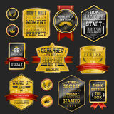 Premium quality sparkling golden labels collection Royalty Free Stock Photography