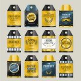 Premium quality sparkling golden labels collection Stock Photos