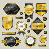 Premium quality sparkling golden labels collection Stock Images